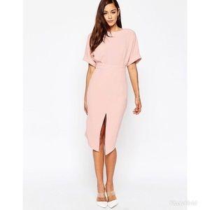 ASOS Wiggle midi dress mauve pink